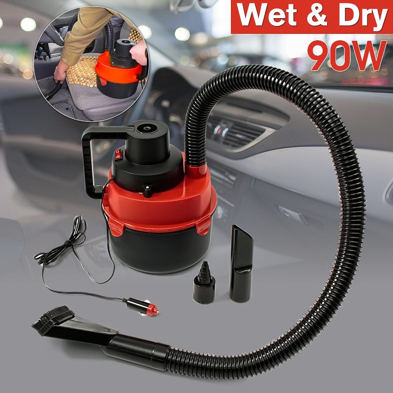 12V DC 90W Portable Wet Dry Canister Outdoor Carpet Car Boat Mini Vacuum Cleaner Air Inflating Pump Red original doit tank robot car chassis kit caterpillar diy robot electronic toy remote control tracked smart car development kit