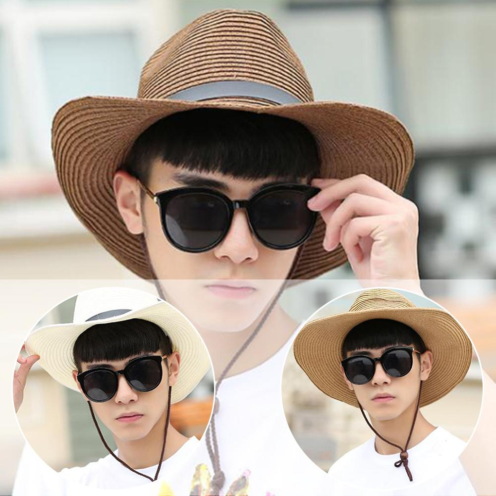 1pc Men's Outdoor Fishing Straw Hat Sun Hat Visor Outdoor Sports Fishing Hat