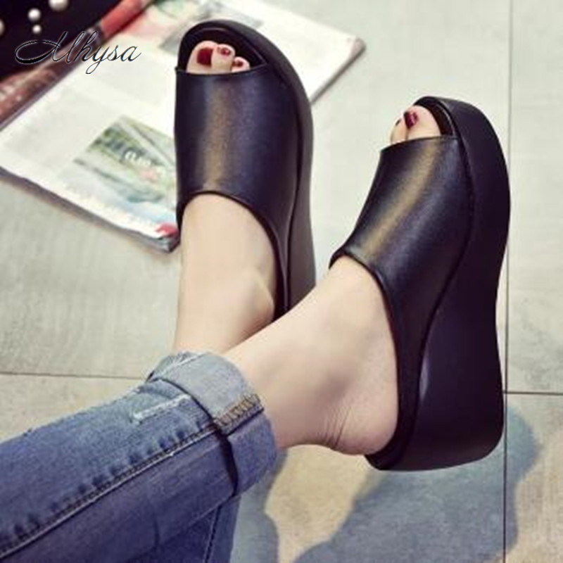 Mhysa  2018 Hot Sale Women Summer Fashion Leisure shoes women platform wedges Fish Mouth Sandals Thick Bottom Slippers S86 lanyuxuan 2017 new hot sale sandals