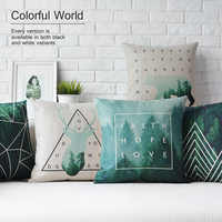 Nordic geometry Green Forest deer Pillow animal cushions thick linen pillowcase sofa cushion home decorative Pillows