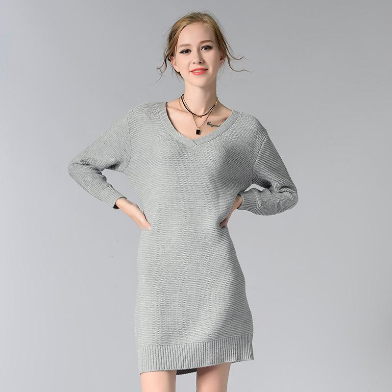2017 Winter Elegant Long Sweater Dress Women Long Sleeve Loose Knitted O-Neck Solid Color Gray/Red/White Office Ladies Dresses