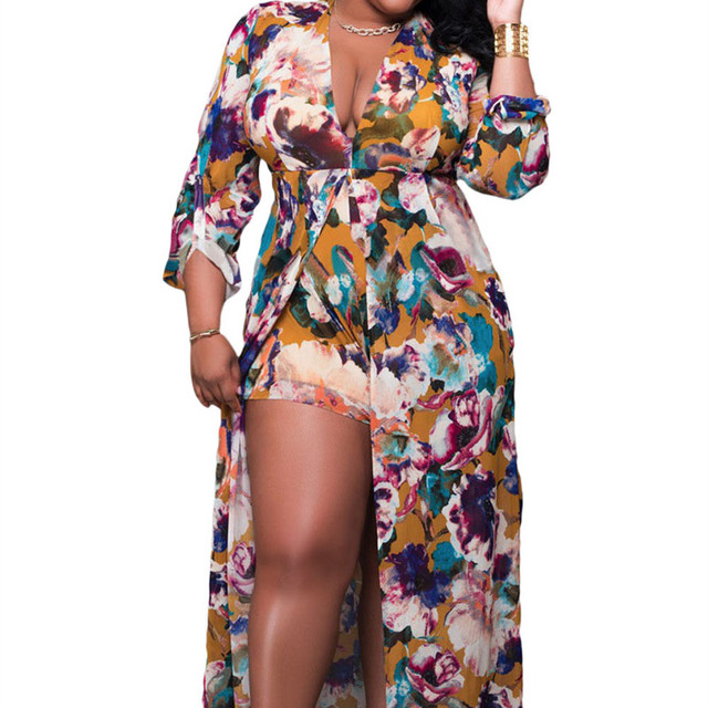 New Autumn Women s Sexy Plus Size Sleeved Floral Romper Maxi Dress FGirl  Dresses for Women Sexy e0eaa56dd25a
