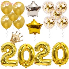8-Season Happy New Year Party Decorations Rose Gold Silver gold Years Eve 2020 Number Foil Balloons