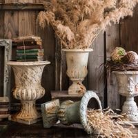 Garden Decoration Courtyard Classical Roman Column Flower Pot Park Landscape Home Sculpture Magnesium oxide Sculpture Floor Vase