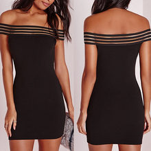 Women' Fashion Summer Sexy Strapless Off Shoulder Slim Bodycon Mini Dresses smt102