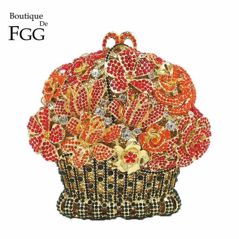 3 Fleur Fgg Rouge Diamant En Mariée 4 Soirée Cristal Bouotique 5 Sacs Embrayages Femmes 2 Minaudière Main Forme Métal Parti À 1 De Sac Couronne fInxw4Bq