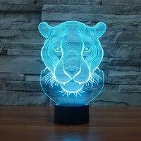 3220 3dライオンレオレナードledランプ雰囲気ランプ7色変えビジュアル錯覚ledインテリアランプ