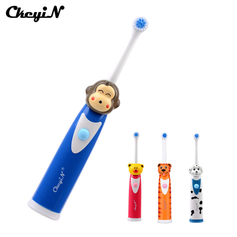 CkeyiN Battery Operated <font><b>Kid</b></font> <font><b>Toothbrush</b></font> Electric Tooth Brush Rotating Brush Head Teethbrush Baby Cartoon Teeth Brush Care Oral image