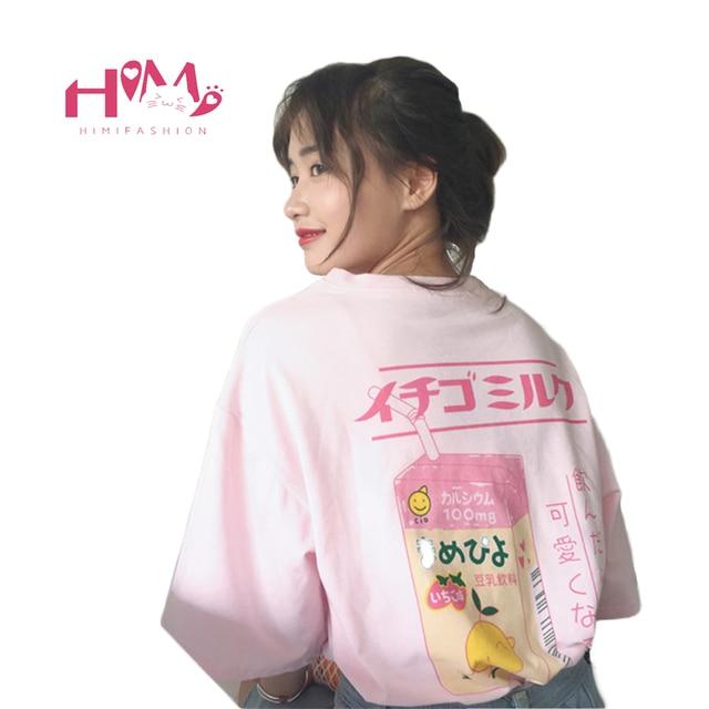 6f7486ccb4a4 Kawaii Fruit Juice Cotton T-shirt Women Tops Harajuku Japanese Fashion Kawaii  Tee 2018 Hot Summer Girls T-shirts