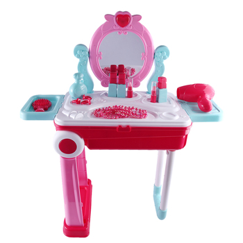 Children Beauty Makeup Tool Sets Pretend Play Workbench Playset Educational Toy with Luggage Organizer - Pink