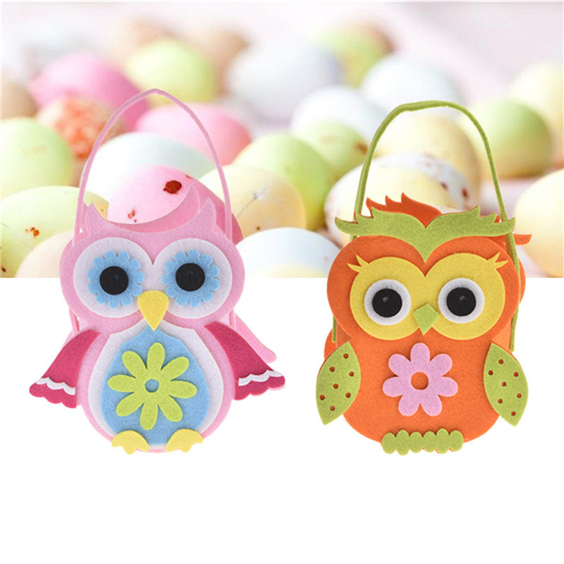 Easter Candy Eggs Bag Home Pink Owl Cloth Candy Bags Easter Birthday Parties Kids Egg Bag Holiday Party Supplies