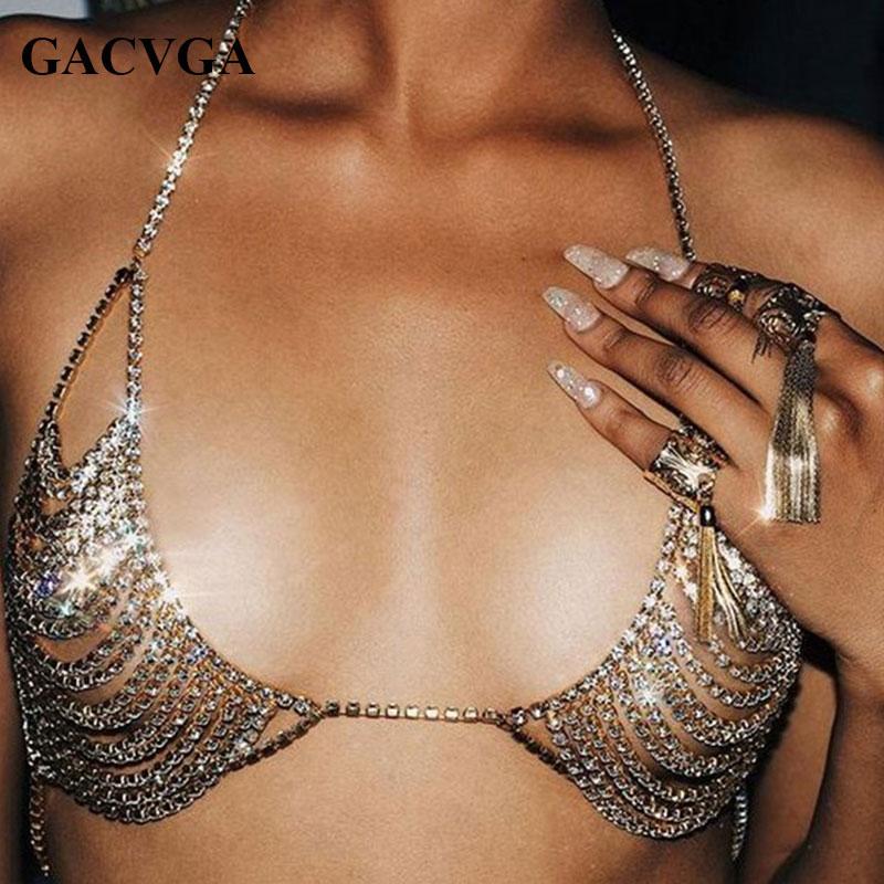 GACVGA 2019 Summer Sexy Gold Lentejuelas Sujetador de mujer Top corto Fiesta de mujer Sujetador corto de diamantes Playa Bralette Tank Crop Tops