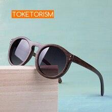 Toketorism ラウンドサングラス木製サングラス男性勾配レンズ偏女性サングラス 6103