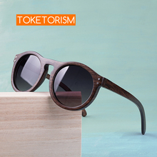 Toketorism round sunglasses wooden men gradient lenses polarized women sun glasses 6103