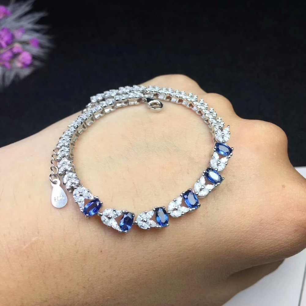[MeiBaPJ] Sri Lanka Sapphire Edelstein Armband Echt 925 Sterling Silber Blau Stein Armreif für Frauen Feine Hochzeit Schmuck