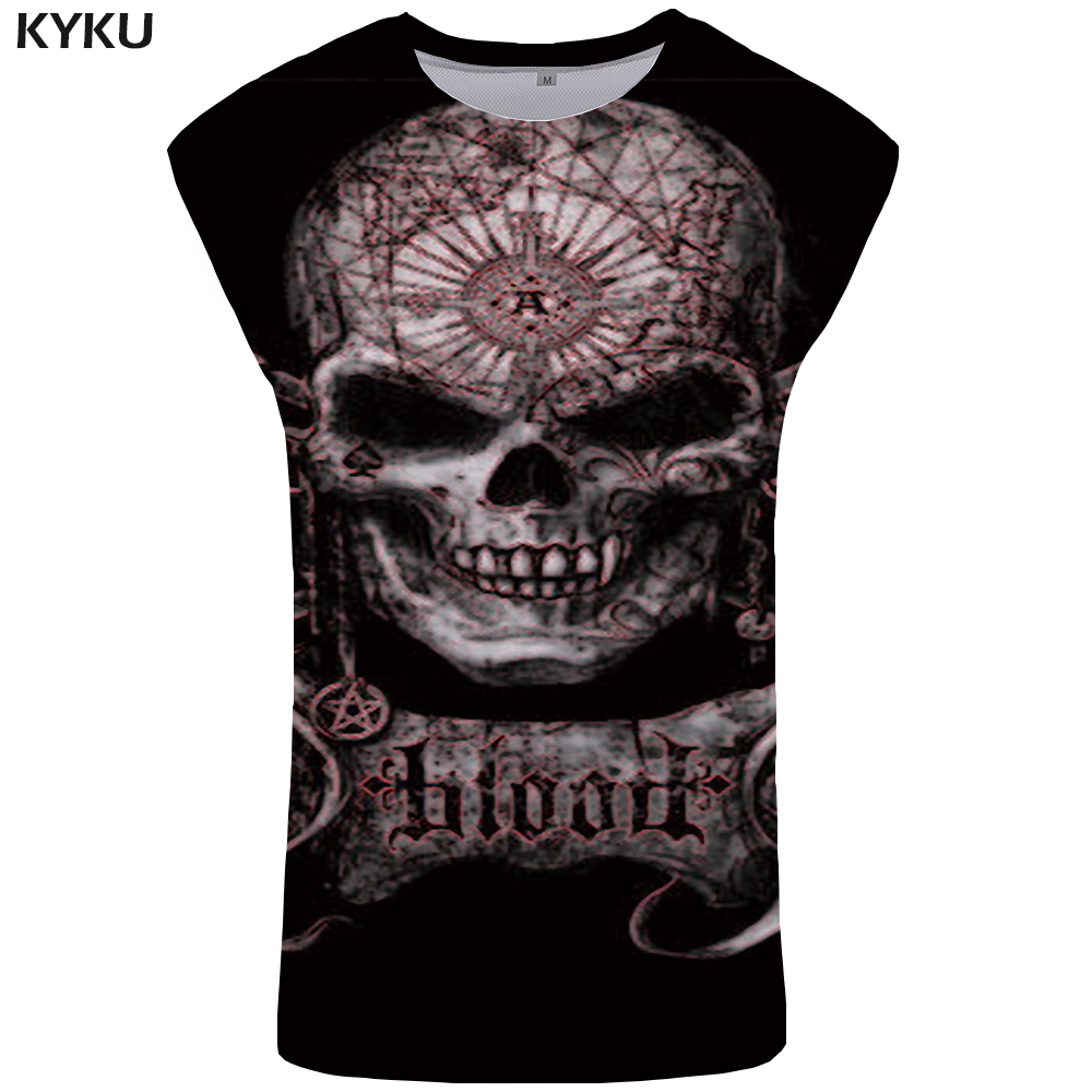 KYKU Brand Skull   Tank     Top   Men Rock Mens Bodybuilding Punk Singlet Hip Hop Ftness Clothing Gothic Tanktop Vest Sleeveless Shirt