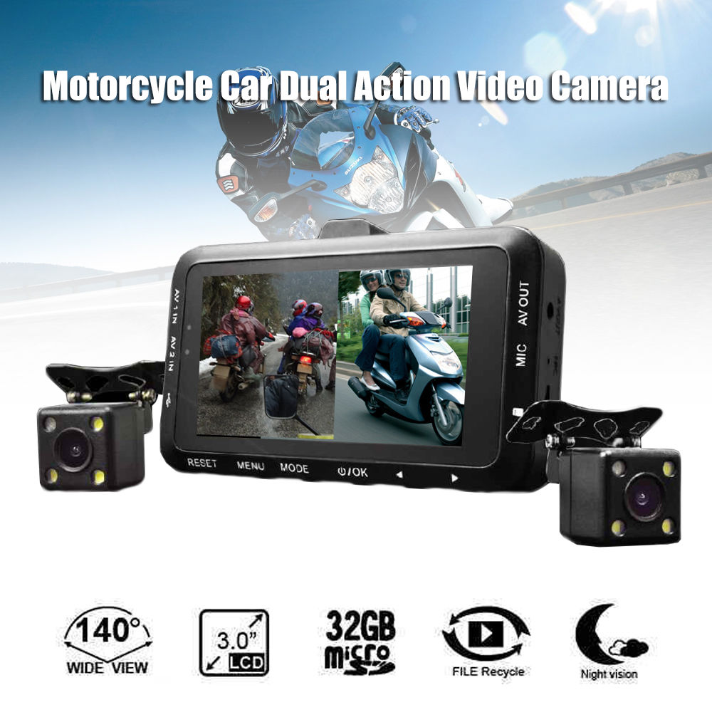 "Blueskysea Motorcycle Car Mounted Biker Action Video Camera DVR Front Back 3.0"" LCD DV168 Night Vision 140 Degree Wide Angle"