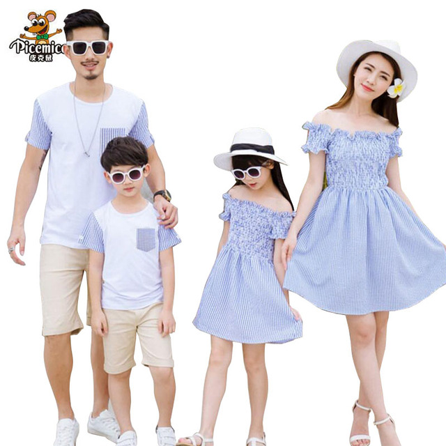 f1fedddd0547 Family Matching Outfits 2019 Summer Style Fashion Matching Family Clothing  Striped Mother Daughter Dresses Father Son T-shirt
