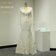 Long Sleeves V Neck Backless Lace Mermaid font b Wedding b font Dress with Rhinestones Open