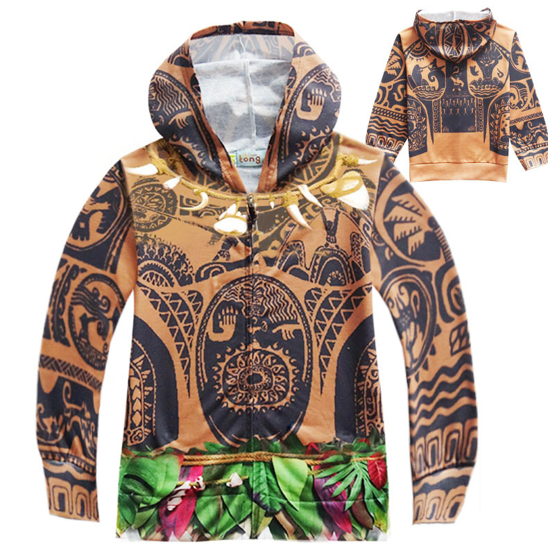 MOANA Childrens Full Sleeve Hoodies Sweatshirt Maui Boys Coat Cartoon Boy Active Clothing Spring Autumn Coat Jacket For Kids