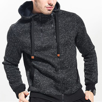 Fashion Hoodied Coat Double Zipper Sweatshirts Autumn Winter Thermal Hoodies Cotton Jackets Male Fitness Pullovers Black Gray