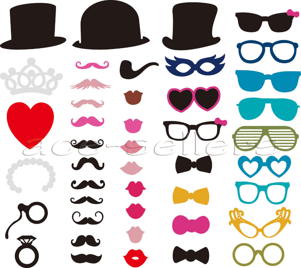 44pcs DIY Party Masks Photo Booth Props Mustache On A