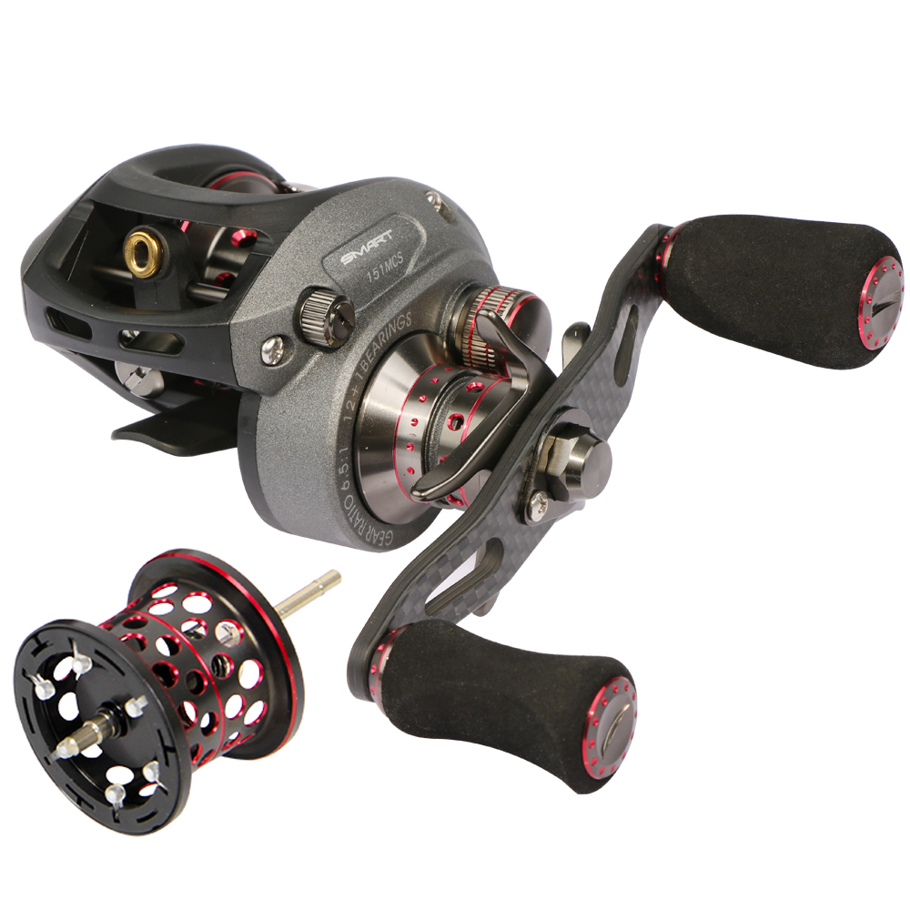 100% Haibo Smart 50/51 HMCS 150/151 MCS 200/201 MCD Bait Casting Fishing Reel Double Brakes,2 Spools,Left Right Hand Gear Ratio