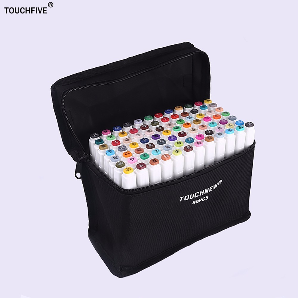 Touchfive 168 Colors Pen Marker Set  Alcoholic oily based ink Dual Head Sketch Markers Manga drawing pen Design Art Supplies dainayw 12 cool grey colors marker pen grayscale dual head art markers set for manga design drawing school student supplies