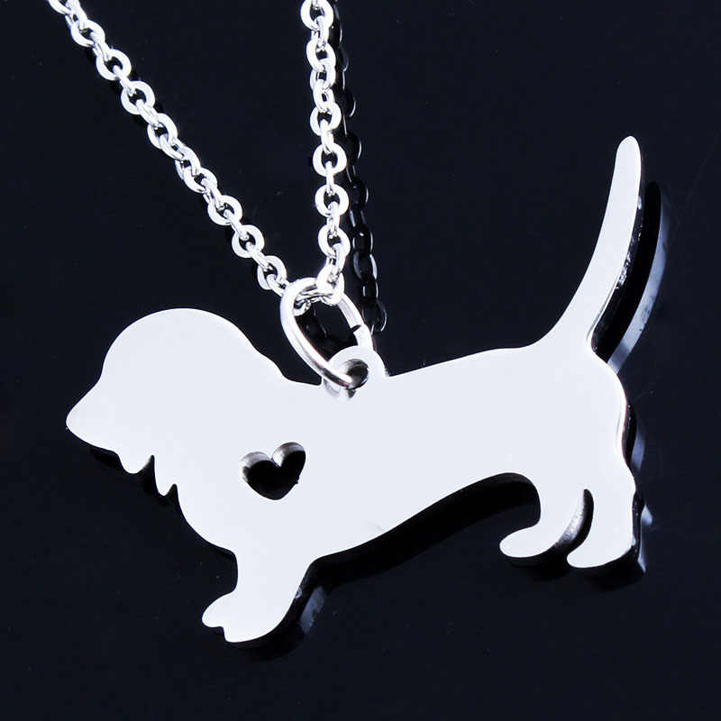Women Girls Gold/Silver Plated Basset Hound Custom Necklaces Rescue Dog Pendant Jewelry Personalized Love Pets Dog Choker Bijoux