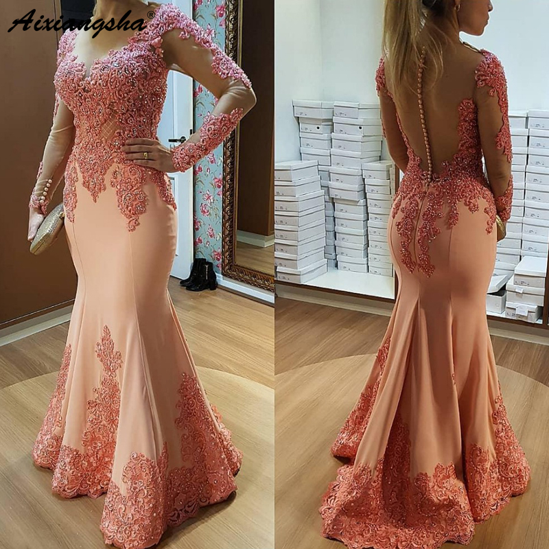Long Sleeves Muslim Evening Dresses 2019 Mermaid Lace Beaded See Through Islamic Dubai Saudi Arabic Long Evening Gown Prom Dress