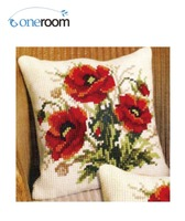 Oneroom CX0272 Red Poppy DIY Acrylic Yarn Embroidery Pillow Tapestry Canvas Cushion Front Cross Stitch Pillowcase