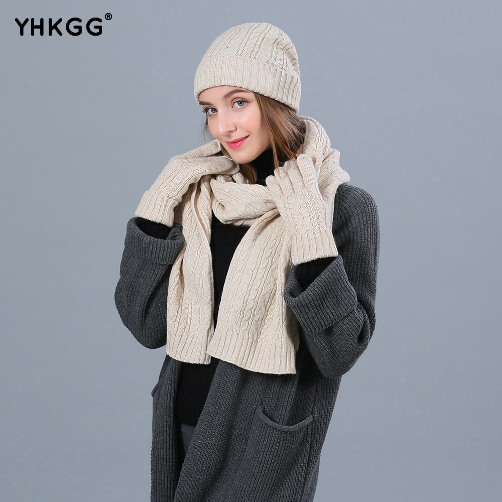 Detail Feedback Questions about YHKGG Fashion Winter Hats Scarf Gloves For Women  Wool Winter Accessories Set Female Beanie Scarf Gloves 3 Pieces Set on ... 31507af8837