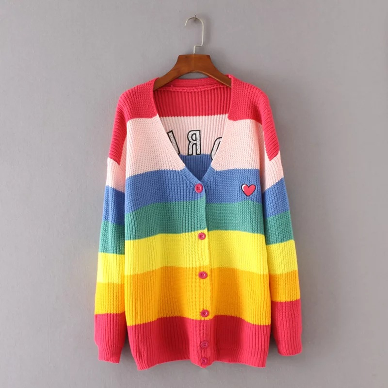 Danjeaner V Neck Single Breasted Knitted Cardigans Women Harajuku Rainbow Stripes Letter Long Sleeve Sweaters Streetwear Jumpers 5