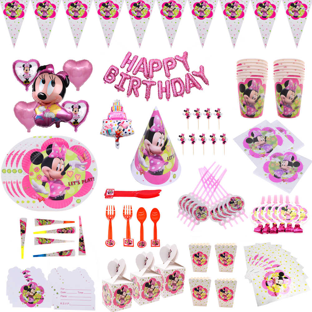Minnie Mouse ballons Birthday party Decoration For kids Gift Disposable Tableware Sets Birthday Party Supplies