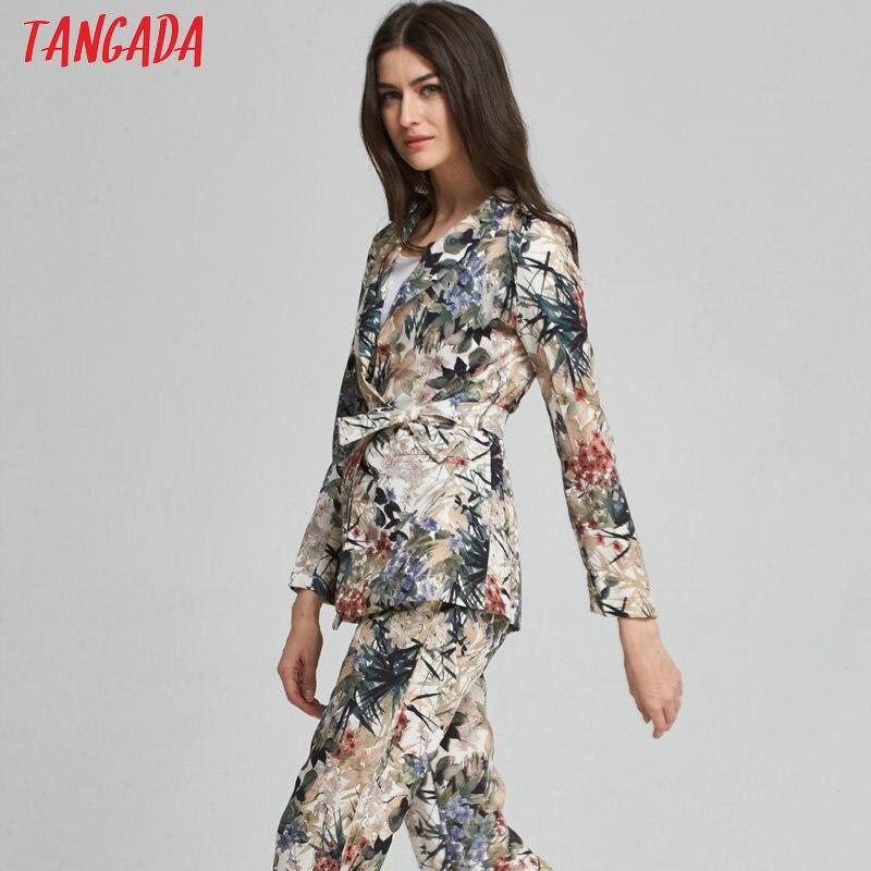 Tangada пиджак блейзер для женщин работа офис костюм цветочный печати женская куртка с поясом пальто женский бренд пиджак femme летом