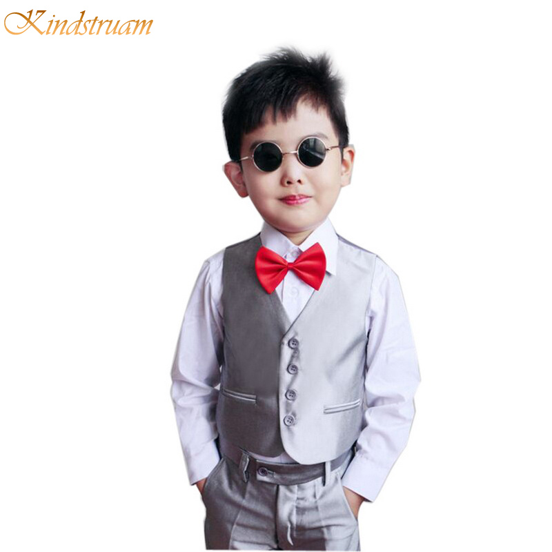 2018 New Arrival Boys Spring & Autumn Wedding Formal Clothing Set Kids Cotton Blazer+Vest+Pants Children Costume Clothes , LC755