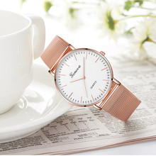 Moderno de moda de cuarzo negro, reloj de mujer