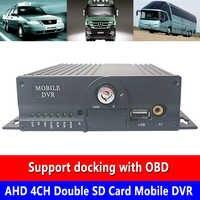 Функция записи задержки выключения для обеспечения сохранения важных зажимов AHD 4CH двойная sd карта мобильный видеорегистратор автобус/фрах...