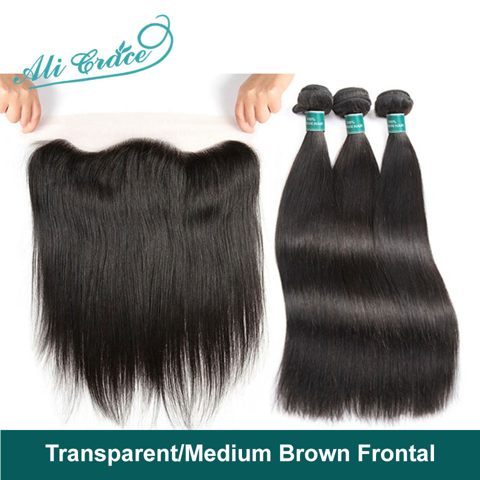 Ali Grace Straight Hair Bundles With Frontal Transparent Medium Brown Lace Color Remy Brazilian Human Hair Bundles With Frontal(China)