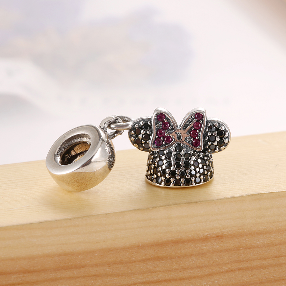 Authentic 925 Sterling Silver Cartoon Mouse Minnie With Crystal Pendant Charm Fit Pandora Bracelet Bangle DIY Jewelry Making