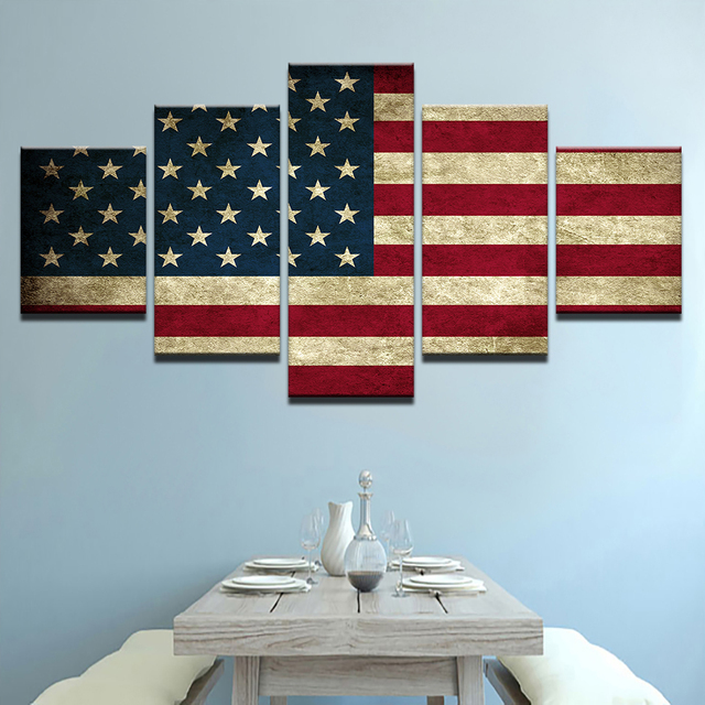 Modern Printing Type Poster Canvas Painting HD Print 5 Panel American Flag  Wall Art Pictures Modular