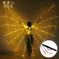Belly Dance LED Isis Wings Colorful Popular Stage Performance Props Belly Dancing Wings Props With Stick Belly Dancing Accessory