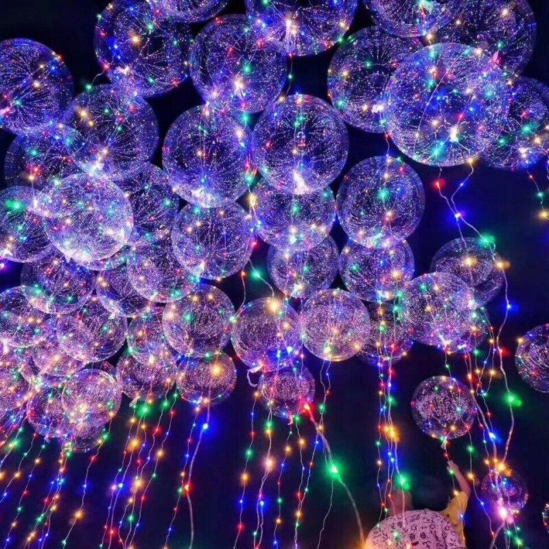 Luminous Led Light Balloon Transparent Round Bubble Decoration Party Wedding Christmas New Year Decor Glowing Balloon