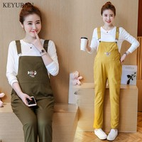 Fashion Fish Embroidery Pockets Maternity Overalls Loose Adjustable Bib Pants Clothes For Pregnant Women Pregnancy Clothing