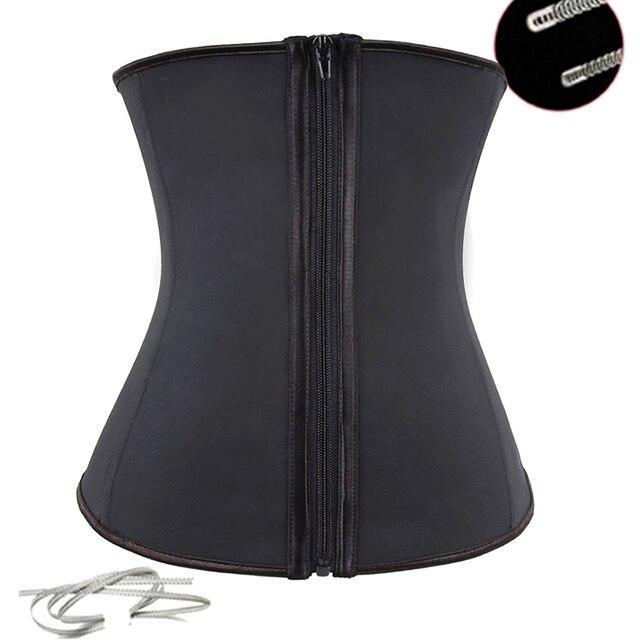 Latex Waist Trainer Corsets Steel Boned Corset Underbust Fat Burner Workout Girdle Zip  Vest Body Shaper Waistbelt
