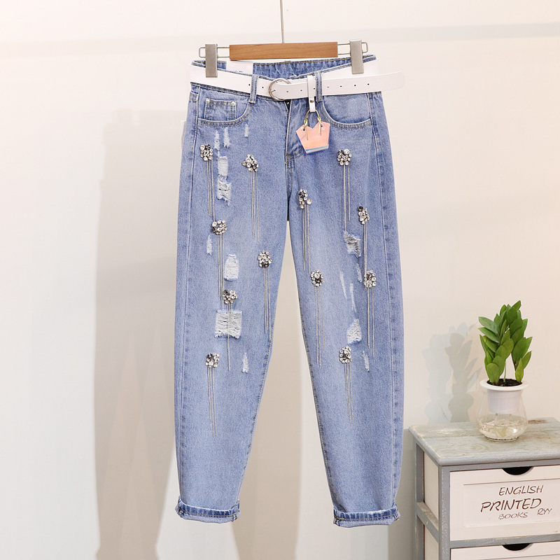Women's Clothing Industrious Holes Jeans Female Spring Summer 2019 New Heavy Studded Drilled Metal Tape Holes Jeans Basic Trousers 9-cent Hallen Pants Women