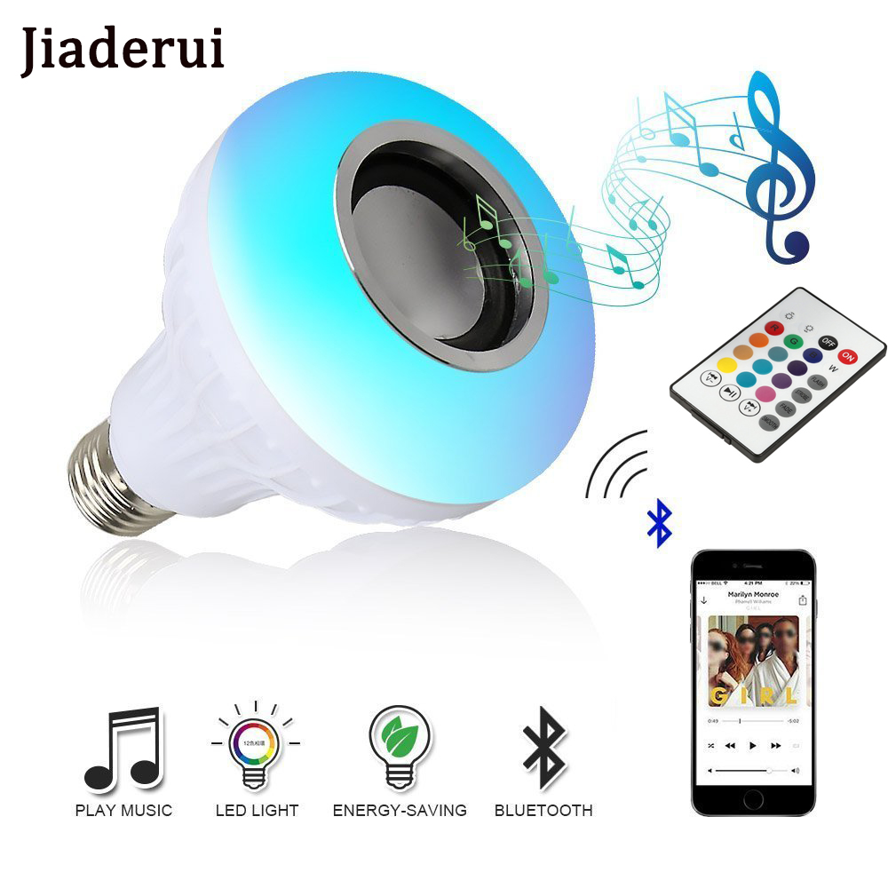 LED Bulb with Wireless Bluetooth Speaker E27 RGBW Lamp 12W Remote Control Intelligent Colorful Light Music Playing Dimmable Bulb