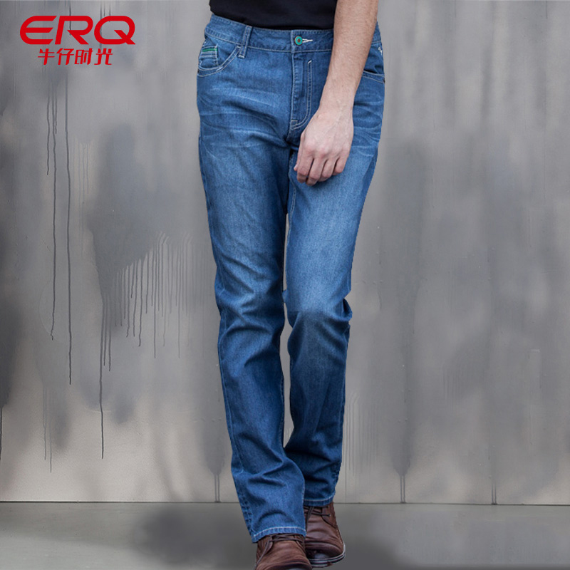 ERQ New Skinny Jeans Men Casual Fashion Stretch Jeans Male Long Mens Jeans Slim Fit Men Straight Pants Casual Trousers 52001 grey 2015 spring male personality splice skinny pants the trend straight trousers slim long trousers thin men skinny jeans
