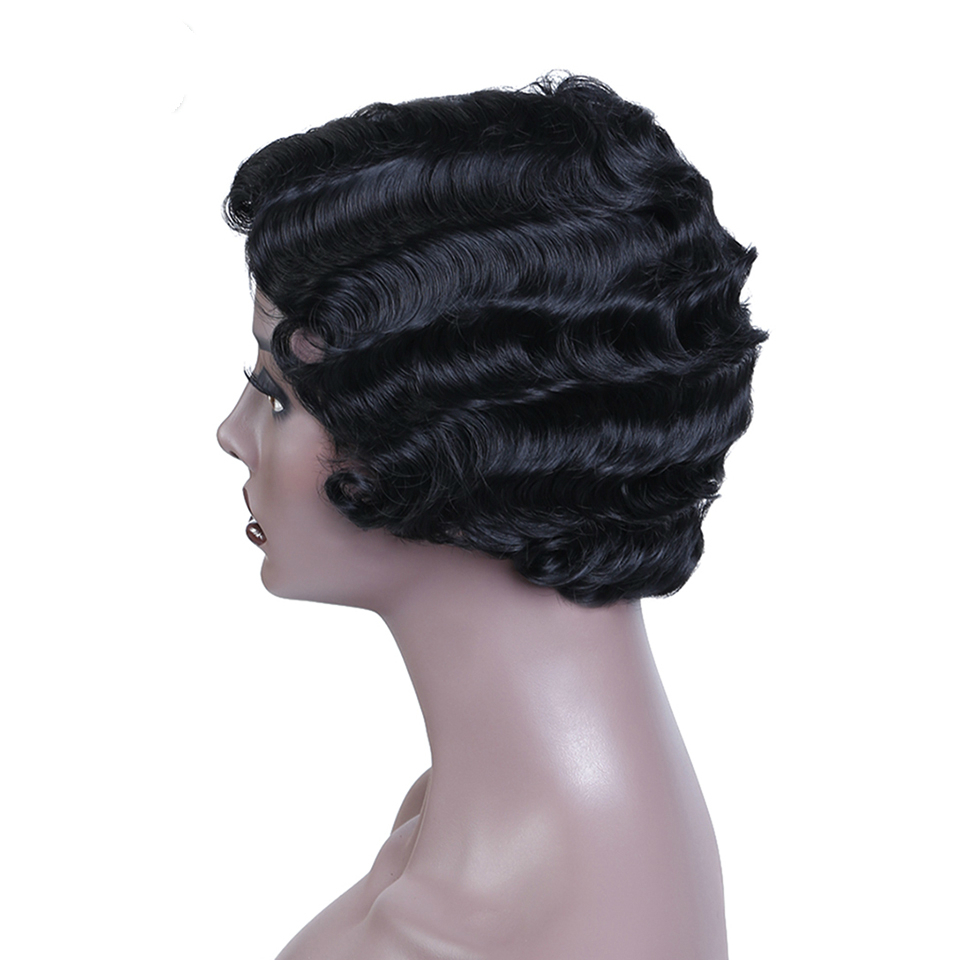 Allaosify Short Wave Black Wig for Women Synthetic Culry Afro Wig Heat Resistant Hair African American Wigs