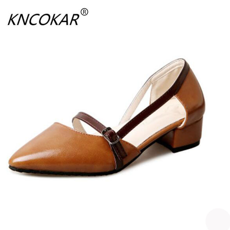 KNCOKAR In the fall of 2017, the new fashion style of the new fashion tip of the top of the women's shoes in autumn the new style of the leather face of the thick bottom of the shoe fashion of many colors